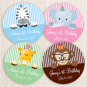 round birthday labels ; ch161875-baby-jungle-animals-round-label-3