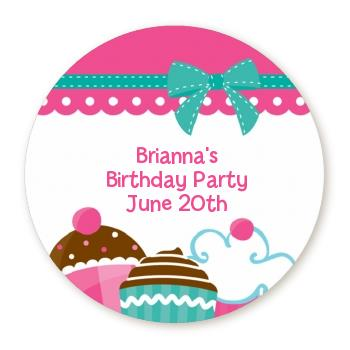 round birthday labels ; cupcake_trio_round_sticker