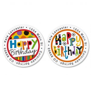 round birthday labels ; happy-birthday-round-address-labels-2-designs
