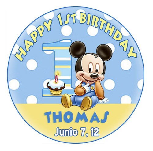 round birthday labels ; mickey_mouse_first_birthday_round_sticker_-_candy_lollipop_labels_b4f9c638