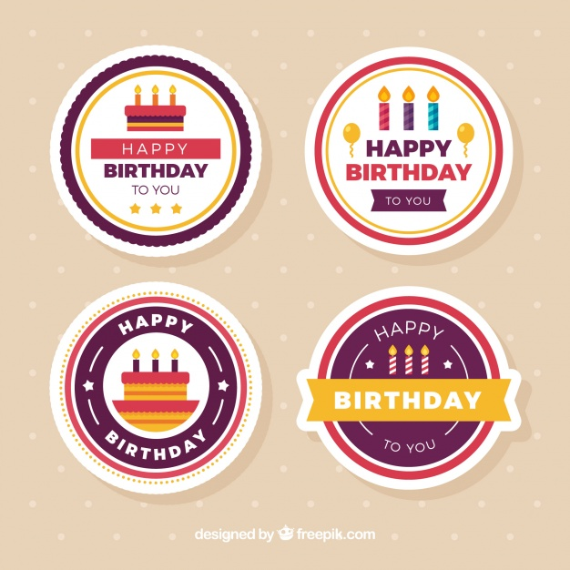 round birthday labels ; several-round-birthday-stickers-in-flat-design_23-2147603550