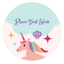 round birthday labels ; unicorn-party-round-label-0435-01-12