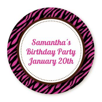 round birthday labels ; zebra_print_pink__black_full_bleed_round_sticker