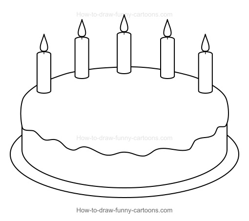 simple birthday cake drawing ; cartoon-birthday-cake-001