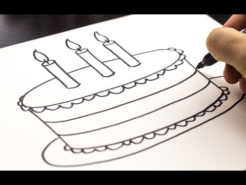 simple birthday cake drawing ; hqdefault