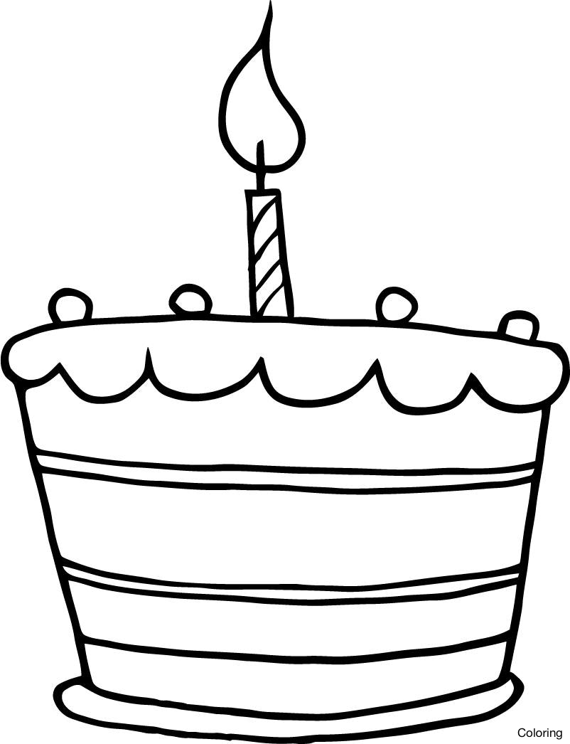 simple birthday cake drawing ; printable-birthday-cake-one-candle-working-sheet-for-kids-how-to-draw-a-coloring-230x300-27f