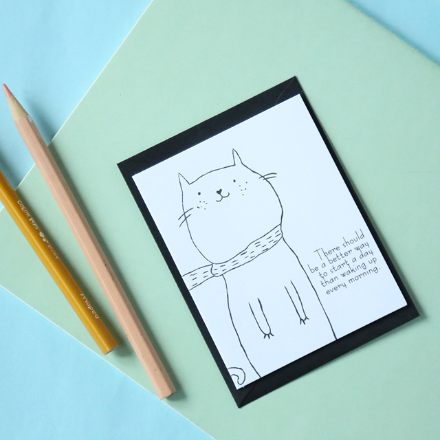 simple drawing birthday card ; 23-female-South-Korean-stationery-simple-line-drawing-small-animals-card-greeting-card-birthday-thank-you