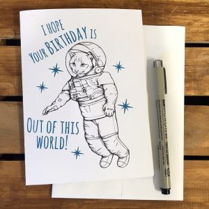 simple drawing birthday card ; simple-handmade-drawing-out-of-this-world-unique-birthday-cards-caption-cat-astronaut-costume-300x300