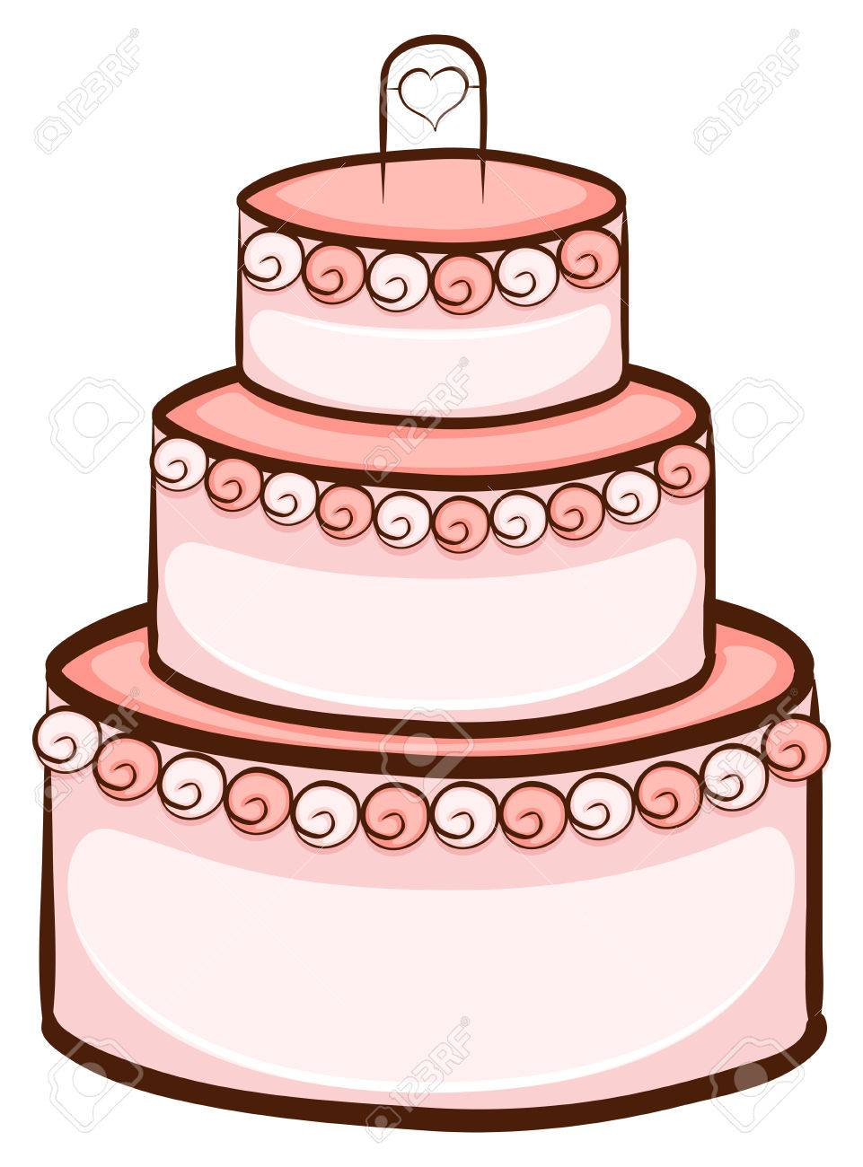 simple drawing of birthday cake ; 33090114-illustration-of-a-simple-drawing-of-a-wedding-cake-on-a-white-background