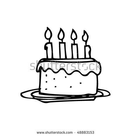 simple drawing of birthday cake ; stock-vector-child-s-drawing-of-a-birthday-cake-48883153