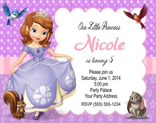 sofia the first birthday invitation card template free ; Sofia-the-First-Birthday-Party-Invitations-Personalized