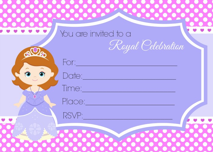 sofia the first birthday invitation card template free ; Sofia-the-First-Polka-Dot-Fill-in-the-blank-5x7-invitation-P