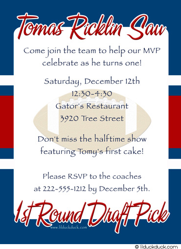 sports themed birthday invitation wording ; football-blue-red-giants-1st-round-draft-back