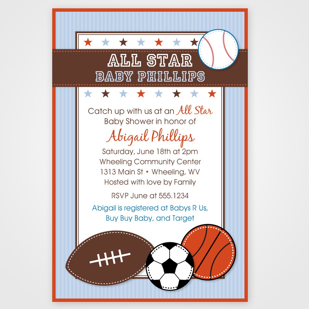 sports themed birthday invitation wording ; others-sports-themed-baby-shower-invitation-card-design-with-brown-border-also-white-background-color-and-ball-decals