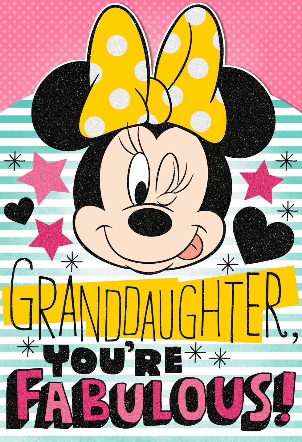 sticker birthday card ; minnie-mouse-birthday-card-with-sticker-sheet-for-granddaughter-root-399hkb1811_1470_1