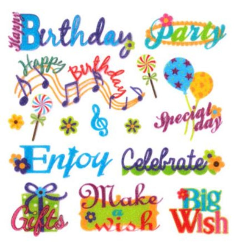 stickers for birthday wishes ; ss157g-handmade-glitter-sticker-scrapbooking-birthday-wish-wishes-cake-celebrate-party