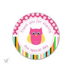 thank you labels for birthday ; f976157ec060a96b9c0b0255c50d473e--owl-labels-birthday-favors