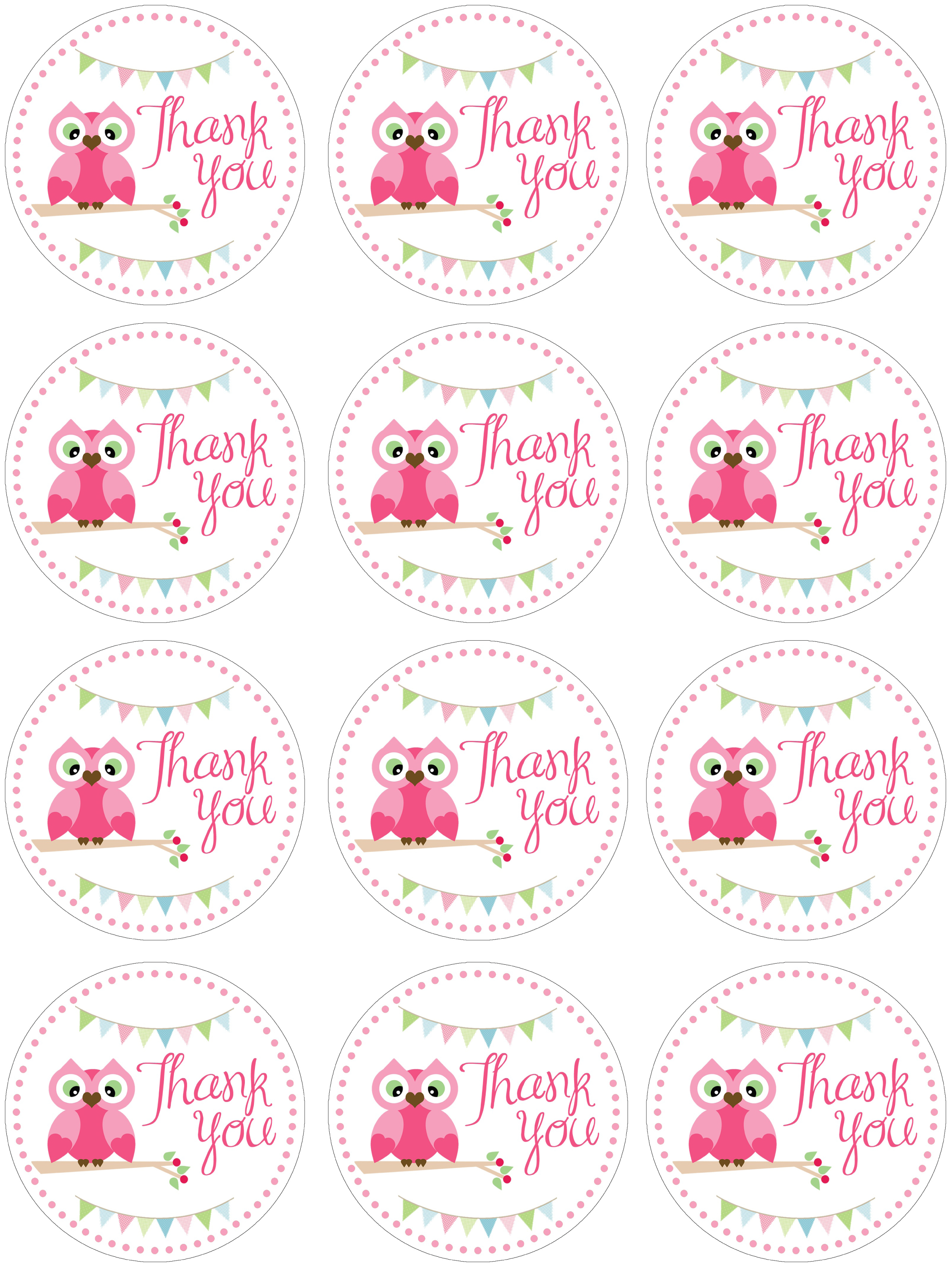 thank you labels for birthday ; owl-birthday-favor-tags