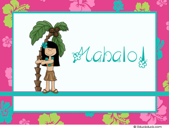 thank you message for birthday greetings from girlfriend ; tropical-thank-you-hula-girl-mahalo