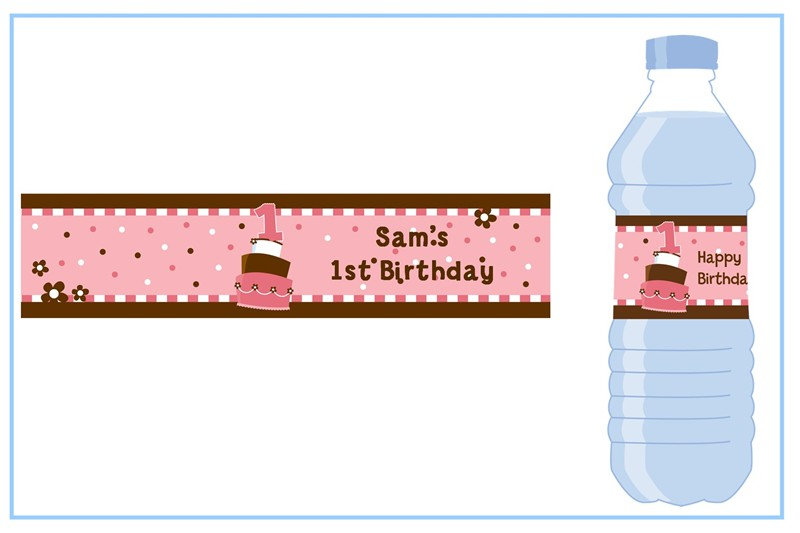 to from birthday labels ; 1st_birthday_topsy_turvy_pink_cake_water_bottle_labels