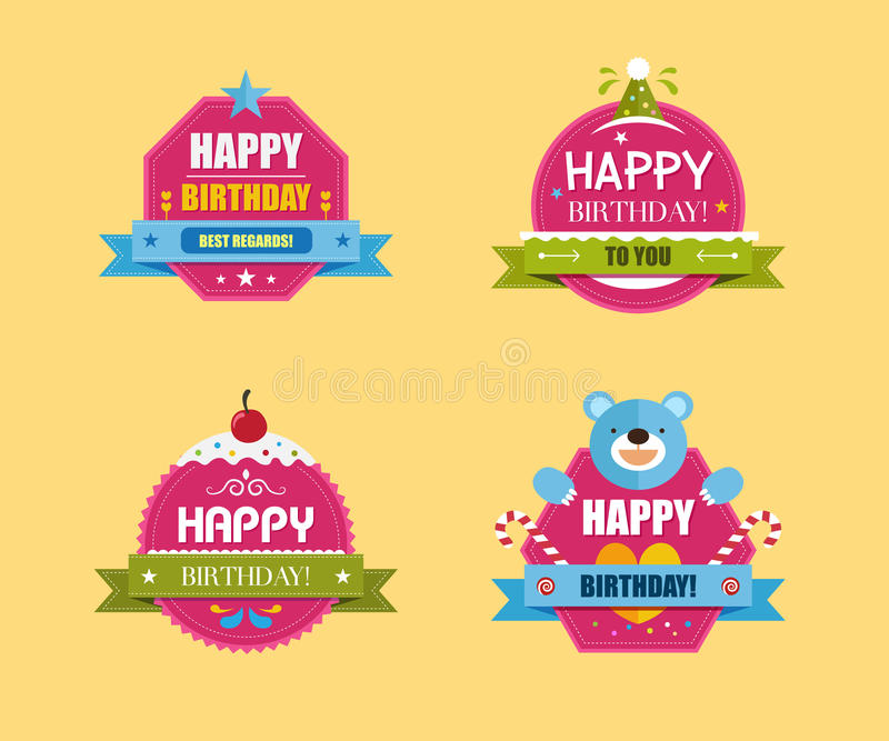 to from birthday labels ; happy-birthday-labels-collection-vector-illustration-cute-teddy-bear-bird-star-heart-cherry-48917383