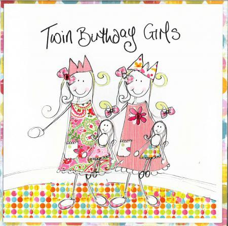 twins birthday wishes greeting card ; twins-birthday-cards-birthdays-party-celebration-twin-girls-with-doll-colorful-dots-greetings-photos-gift-cakes-candles-wonderful