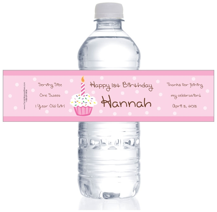 water labels for birthday ; WBBD288PINK-2