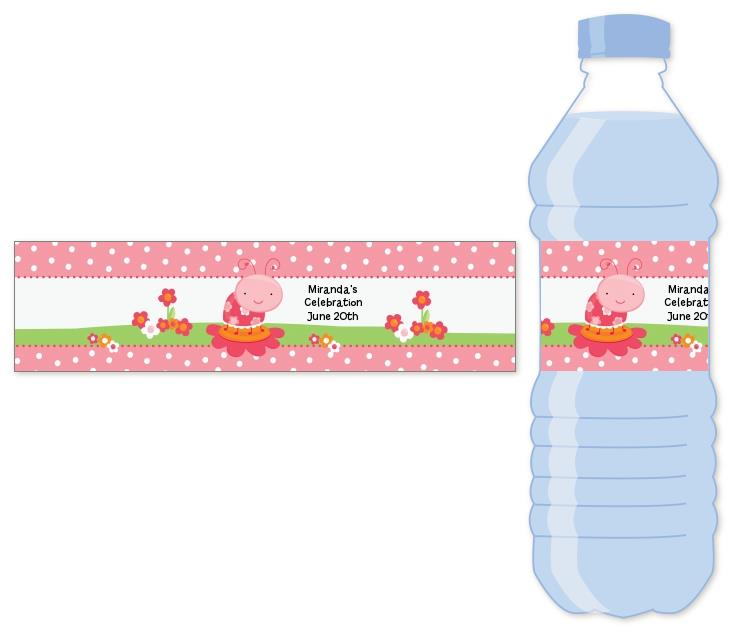 water labels for birthday ; modern_ladybug_pink_water_bottle_labels