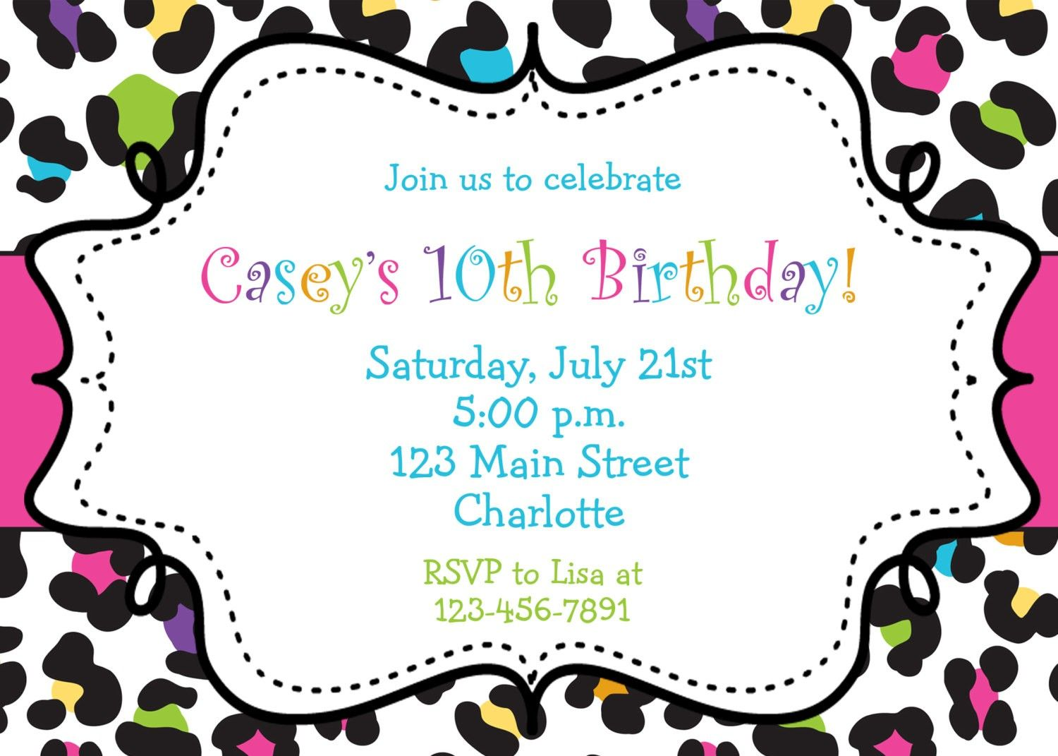 10th birthday invitation templates free ; 1d0516517ec9a505b9a5d27c993a865a