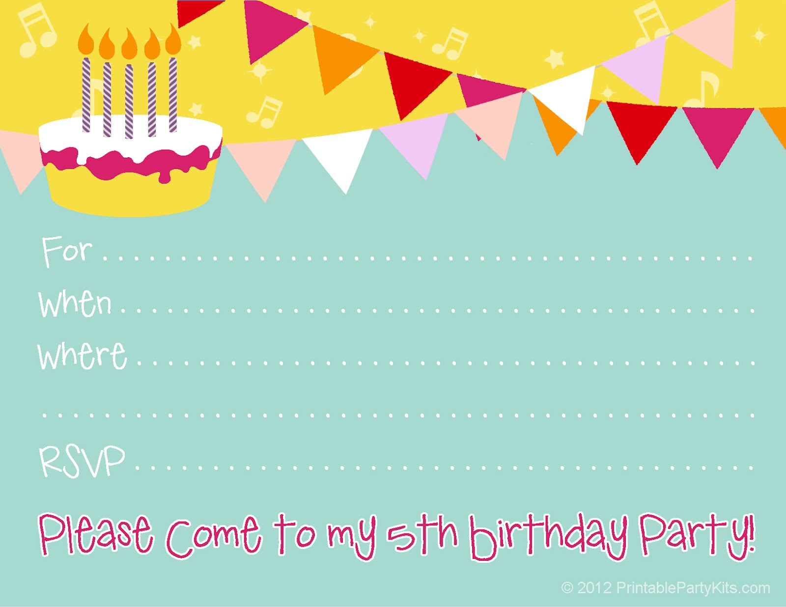 10th birthday invitation templates free ; 5th-birthday-invite
