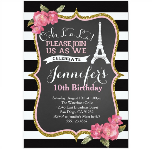 10th birthday invitation templates free ; Birthday-Party-Invitation-Template-With-Eiffel-Tower