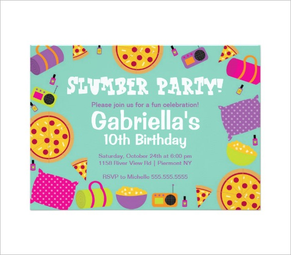 10th birthday invitation templates free ; Gabriells-Slumber-Party-Invitation-Template