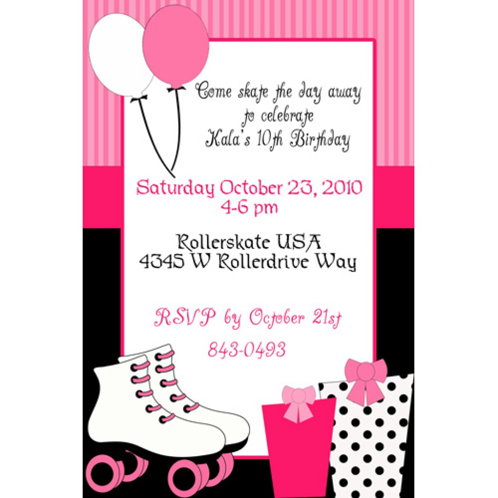 10th birthday invitation templates free ; Roller-Skating-Party-Invitation-Template-Free