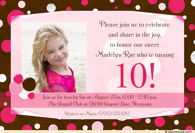 10th birthday invitation templates free ; ten1