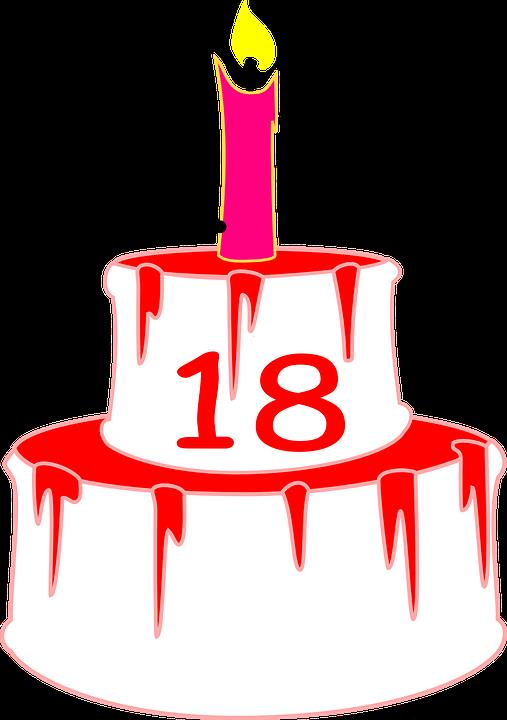 18th birthday cake clipart ; candle-303761_960_720