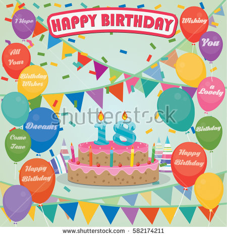18th birthday cake clipart ; stock-vector--th-birthday-cake-and-decoration-background-in-flat-design-with-balloons-and-candles-582174211