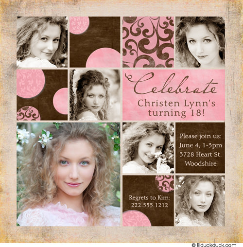 18th birthday photo invitations ; colorful-blocks-pink-brown-18th-birthday-photo-invitation