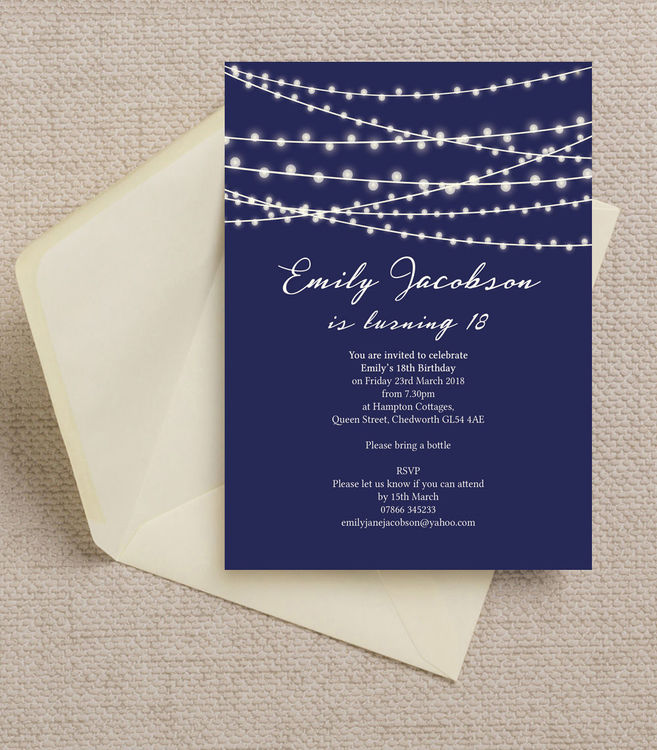 18th birthday photo invitations ; navy-midnight-blue-fairy-lights-personalised-milestone-birthday-party-invitations-invites-18th