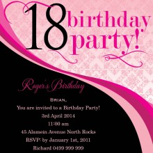 18th birthday photo invitations ; swirly_18th_square_w_magnet_in_hot_pink_257175_1