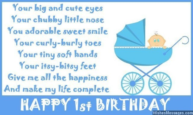 1st birthday card messages for nephew ; Cute-first-birthday-poem-on-card-640x383