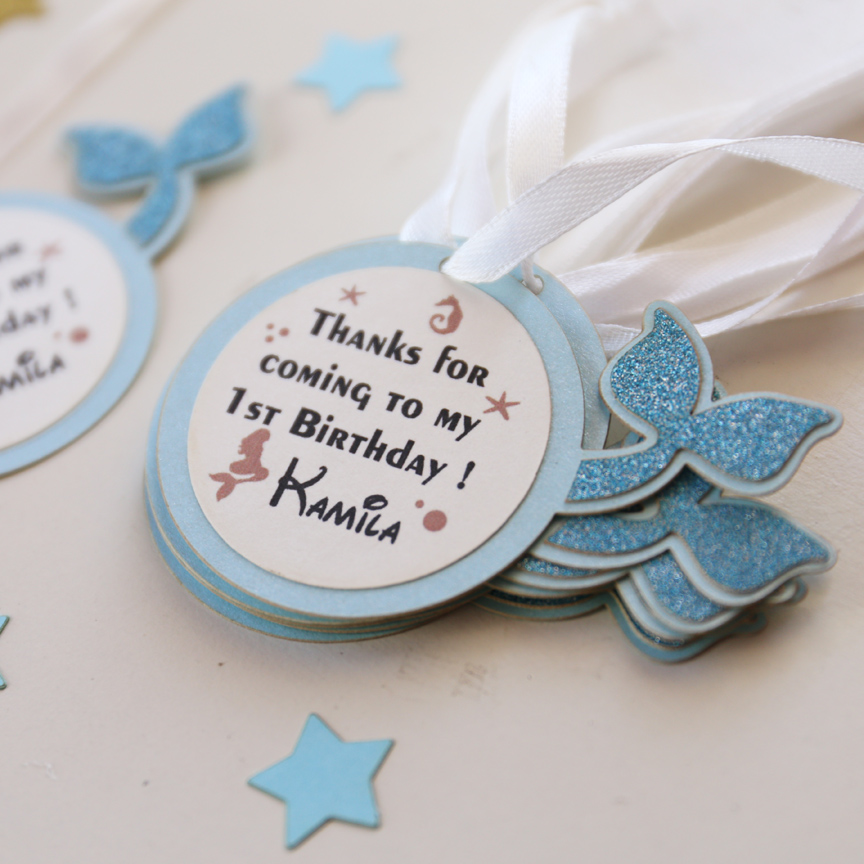 1st birthday gift tags ; Personalized-first-birthday-favor-tags-mermaid-party-gift-tags-laser-cut-baby-shower-thank-you-tags