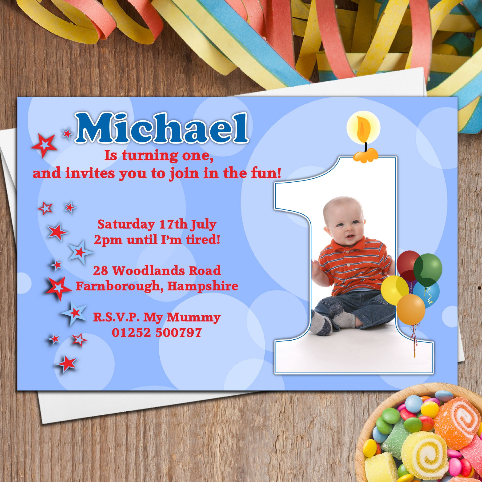 1st birthday greeting cards for baby boy ; 10-boys-personalised-first-1st-birthday-party-photo-invitations-n19-4711-p