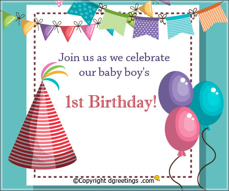 1st birthday greeting cards for baby boy ; join-1st-birthday-party