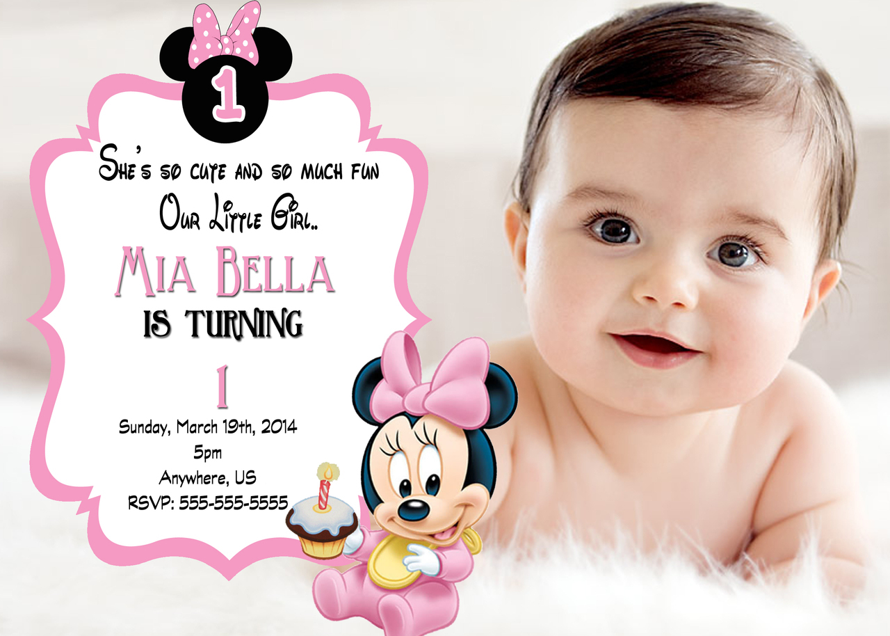 1st birthday minnie mouse photo invitations ; 6437f7242ee05e3a7410ca4e196fc5ee