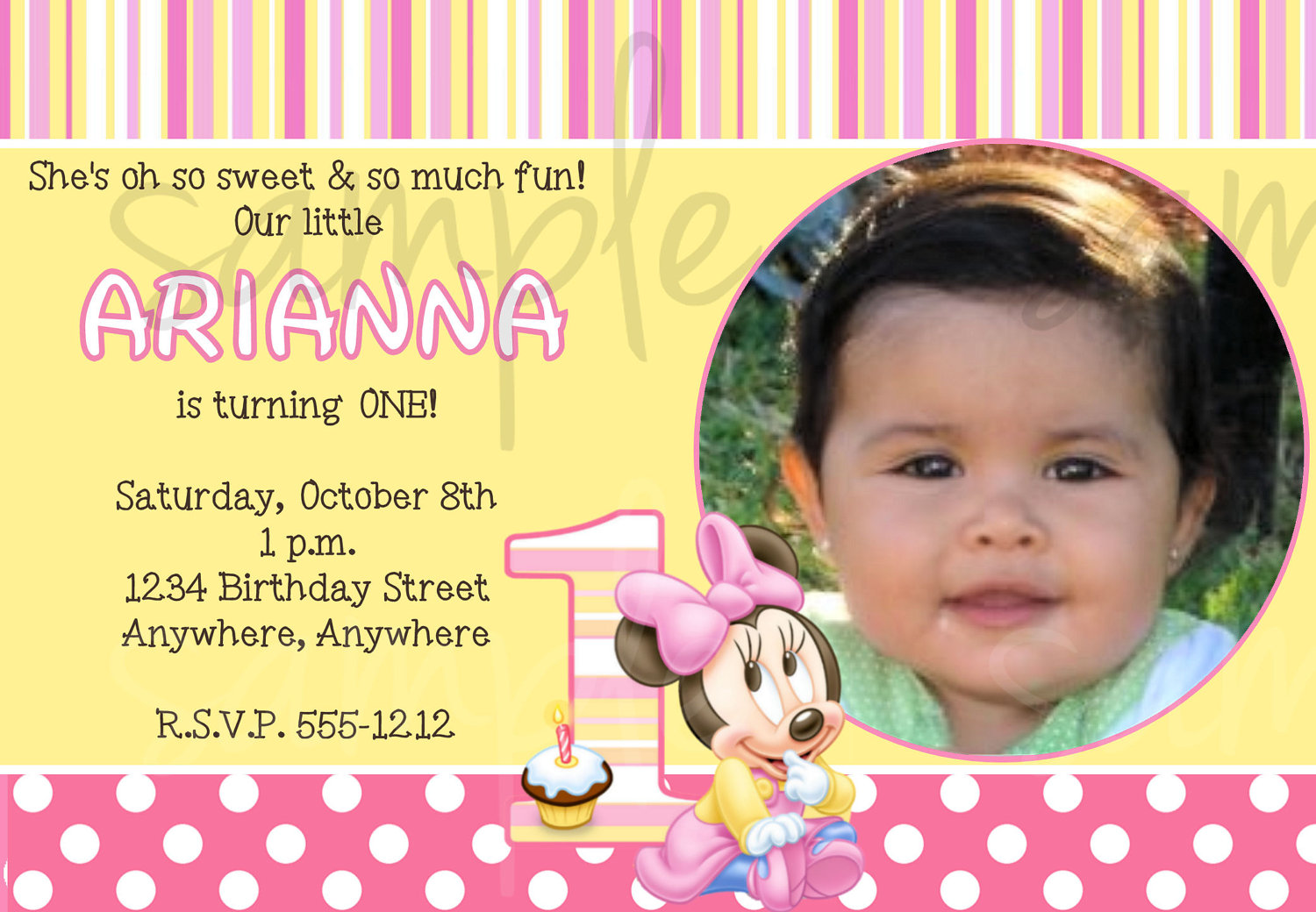 1st birthday minnie mouse photo invitations ; Minnie-Mouse-Invitations-1st-Birthday