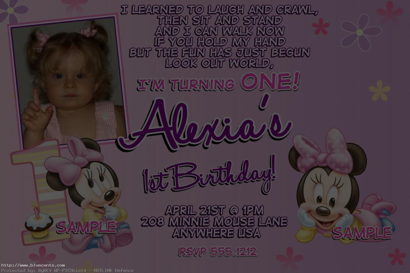 1st birthday minnie mouse photo invitations ; first-birthday-minnie-mouse-invitations-8-1