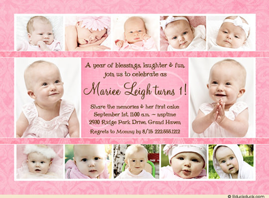 1st birthday photo invitations girl ; chocolate-pink-girl-collage-1st-birthday-invitation-12-photos