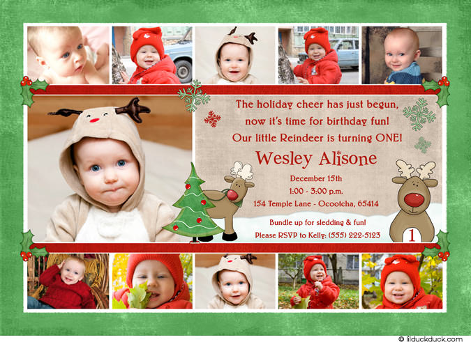 1st birthday picture collage ideas ; Reindeer-red-green-11-photo-collage-invitation
