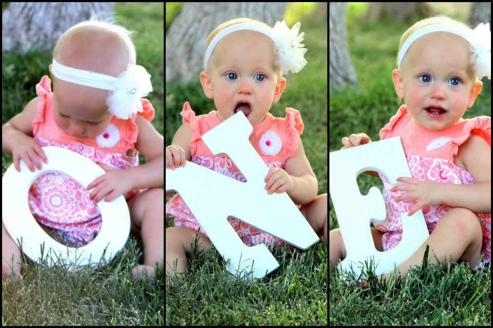 1st year birthday picture ideas ; spelling-baby