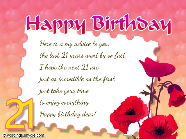 21st Birthday Greeting Cards Card Messages Red Flowers